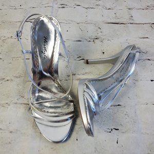 Herstyle Silver Strappy High Heel Glam Bride Pumps